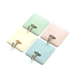 Wholesale Bathroom Wall Colors - 1 Pcs Strong Adhesive Hook Wall Door Sticky Hanger Holder Kitchen Bathroom 4 Colors