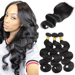 double drawn virgin hair Coupons - Body Wave 3 Bundles With Lace Closure Raw Indian Virgin Hair Unprocessed Double Drawn Weaves Mink Brazilian Hair Natural Black