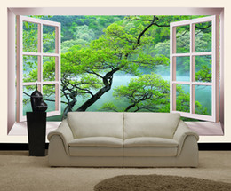 Wholesale windows mouldings - Large Custom Frame Window Murals Wallpaper 3d wall photo murals for Living Room backdrop 3d wall mural wallcoverings wall fresco