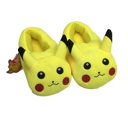 Wholesale Fluffy Animal Slippers - Animals Stuffed Animals Cartoon toys Pikachu Eevee shoes Cute indoor fluffy slippers soft winter adut