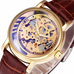 relógios mecânicos unisex azuis Desconto Top marca de luxo esqueleto de ouro unisex homens mulheres relógios pulseira de couro azul-ray espelho forsining auto mecânicos relógios de pulso