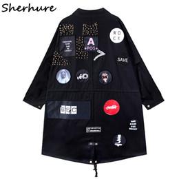 Wholesale Black Boyfriend Jacket - Sherhure 2017 Boyfriend Style Oversize Women Bomber Jackets Black Casaco Feminino Patches Rivet Women Autumn Jackets Coat