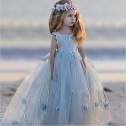 Wholesale Cute Beautiful Images - Square Tulle Sky Light Blue Hand Made Flower Lace Ankle Length Cute Beautiful Wedding Dresses Flower Girl Dresses