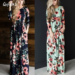 dcbe0aa949 Wholesale- QIYUN.Z 2017 Summer Boho Beach Dress Fashion Floral Printed  Women Long Dress Three Quarter sleeve Loose Maxi Dress Vestidos