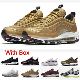 Wholesale womens shoes size 12 flats - 2018 new 97 Running Shoes 97s OG Gold Silver Bullet Triple White Black Mens womens Trainer Casual Sports Sneakers Size 5-12