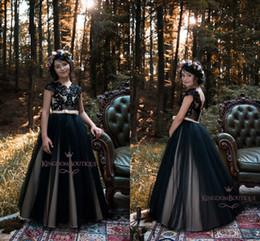 Wholesale Teen Models - 2018 Lovely Black Flower Girls Dresses for Teens Short Capped Sleeves A Line Tulle Floor Length Beach Girls Pageant Gowns Custom Made
