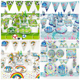 Wholesale straw flags - 4 Styles Soccer Mermaid Tableware Set Birthday Party Decoration Kids Napkin Cups Tablecloth Flag Straw Plate Party Supplies CCA10016 10set
