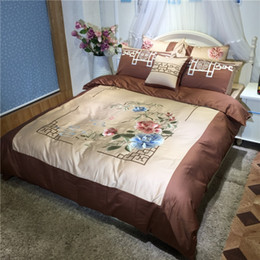 Wholesale Quilt Cover Wedding - 100% Egyptian cotton blue brown chinese wedding bedding set luxury embroidery duvet cover flat sheet bed linen quilt cover set