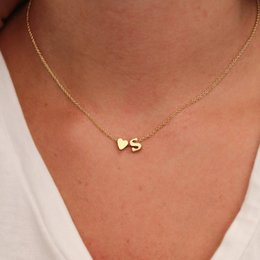 Wholesale tiny love heart pendant - Trendy Cute Tiny Dainty Heart Initial Necklace Woman Girls Name Letter Choker Necklace Jewelry For Women Birthday Gift