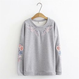 4f5eb3f71d2 Oversized Plus Size Cotton Floral Embroidered Hoodies Women Casual O-Neck  Gray Sweatshirt Spring Autumn Ladies Pullovers 4XL