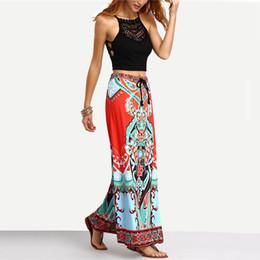 Wholesale Long Boho Maxi Skirts - Summer Long Maxi Skirt For Women Ladies Multicolor Vintage Boho Tribal Print Tassel Tied Waist A Line Skirt