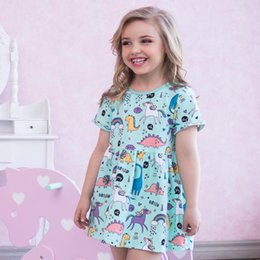 Wholesale printed short dress - Cute Girl Dress 100% Cotton Summer Dress Animals Appliqued Kids Short Sleeve Dress with Unicorn Baby Girl Clothing