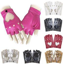 Модные перчатки без пальцев женщин онлайн-2018  New Fashion Women Ladies Half Finger PU Leather Gloves Fingerless Palm Driving Show Heart Shape Hollow Out Gloves