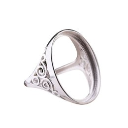 sterling silver ring mounts Promo Codes - 925 Sterling Silver Women Men Engagement Weddinig Ring 16x22mm Oval Cabochon Semi Mount Vintage Ring Fine Jewelry DIY Stone
