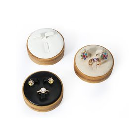 Wholesale White Leather Ring Display - Jewelry Ring Earrings Set Display Stand Circular Fashionable Design Jewellery Showcase Rings Stud Earring Holder Displays White PU Leather