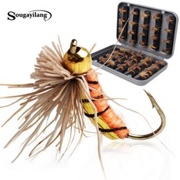 Wholesale Fish Trout - Sougayilang 40pcs lot Trout Nymph Fly Fishing Lure Fishing Tackle 3 Colors Fly Fishing Flies with Box Carp Artificial Fish Bait