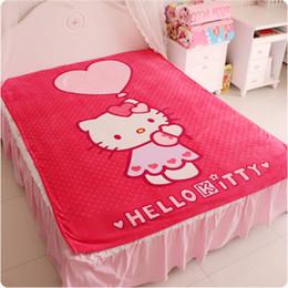 Wholesale queen fleece blankets - Hello Kitty Blanket for Adult Kids Plush Fleece Blanket Kawaii Bed Throw on The Bed Sofa Car, Queen Size 200*150cm