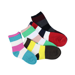 Wholesale Girls Socks Years Old - 5 pairs lot children socks Striped boys and girls socks for autumn and winter baby Stink proof breathable 1-12 years old