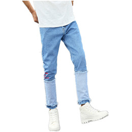 Wholesale Denim Jeans 27 - Spring Blue Small Stretch Stitching Men's Jeans 27 28 30 34 36 Youth Fashion Casual Man Trousers Hot Special Personality Pants