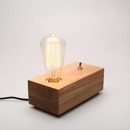 Wholesale iron table lamp vintage - Vintage wooden Table Lamp Edison Bulb Personalized Wood Table Light art decoration Desk Lamp AC 90-260V E27 Light