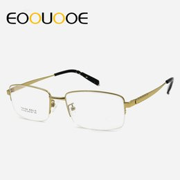 cf076947f6 EOOUOOE Men Titanium Glasses Frame Half Optical Spectacles Eyeglass Oculos  Eyewear Clear Glasses Gafas Myopia Grau Opticas