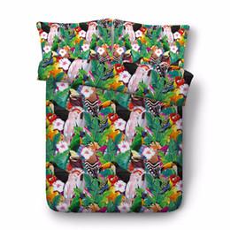 Двухместные постельные принадлежности онлайн-Бесплатная доставка мультфильм тукан лиса зебра собака постельных принадлежностей 1 пододеяльник2 наволочки близнец / полный / королева / король / супер кинг размер