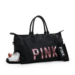New Sequins Love PINK Gym Fitness Sports Bag Shoulder Crossbody Shoes Bags Women Tote Handbag Travel Duffel от Поставщики шнуры для обуви