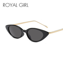 eb20b91b13 ROYAL GIRL Small Cat Eye Sunglasses for Women Brand Design Black White  Metal Frame Gray Lens Sun Glasses Vintage Shades ss426