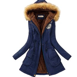 Wholesale Short Orange Fur Jacket - 2017 Warm Winter Jacket Women Fashion Women's Fur Collar Coats Jackets for Lady Long Slim Down Parka Hoodies Parkas