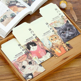 Wholesale Pet Office - 5pcs lot Vintage Kawaii Cat Pet Envelope set red envelope students' funny mini gift bag office school Stationery supplies