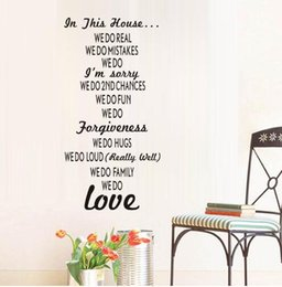 Wholesale animal house wallpaper - Free shipping DIY Vinyl In This House Wall Stickers House Rules Text Stick On Living Room Wallpaper Poster Art Decal Room Decor Removable