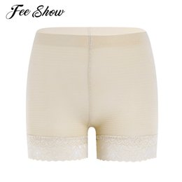 Wholesale Tight Waist Shapewear - Sexy Women Ladies Stretchy Seamless Shapewear Tummy Control Lace Trim Safety Shorts Pants Striped Pattern Waist Tights Underwear