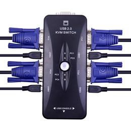moniteur de sortie vidéo Promotion Commutateur KVM USB 2.0 à 4 ports Répartiteur VGA / SVGA Adaptateur de sélection HUB 1920 X 1440 Connecte le moniteur de souris du clavier de l'imprimante