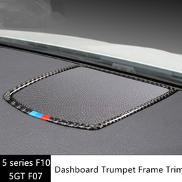 Wholesale Car Audio Frame - Dashboard Audio Speaker Frame Decoration Cover Trim for BMW 5 series F10 2011-17 Carbon fiber Car styling