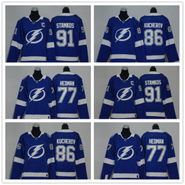 Wholesale Nhl Jersey Cheap - Youths Women NHL 2018 Tampa Bay Lightning 86 Kucherov 77 Hedman 91 Stamkos Royal Home Premier Jersey Kids Lady's Ice Hockey Jerseys Cheap