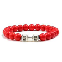 yellow stone jewelry sets Promo Codes - 8MM White Red Yellow Stone Beads Metal Dumbbell Bracelet Male Female Fit Life Fitness Barbell Bracelets Yoga Jewelry for Unisex