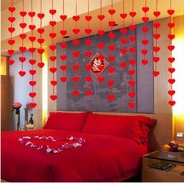 Wholesale Garland Easter - 16 Hearts Romantic Wedding Decoration Marriage Room Layout DIY Non-woven Garland Creative Love Heart Curtain CCA8875 200pcs