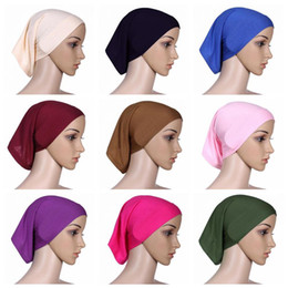 Wholesale Casual Fall - 30cm*24cm Islamic Muslim Women's Head Scarf Mercerized Cotton Underscarf Cover Headwear Bonnet Plain Caps Inner Hijabs CCA9582 120pcs