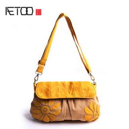 Sacchetti di tote giapponesi online-AETOO Pura pelle con tela Giapponese spalla Messenger Messenger bag moda fiore paern Sen Dipartimento del pacchetto femminile