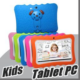 """2019 tablet china rom 2018 DHL Crianças Marca Tablet PC 7 """"Quad Core crianças tablet Android 4.4 Allwinner A33 google jogador wi-fi grande alto-falante capa protetora L-7PB"""