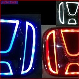 Wholesale Civic Led - xxx 5D Laser LED Emblem Car Badge Front Rear Logo Lighting case for Honda Accord CRV Civic ...etc Red Blue White