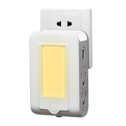 Wholesale Wall Outlet Adapters - LED Night Light Plug Outlet Wall Adapter with 4 AC Outlets and 2 USB Ports Dusk to Dawn Light Sensor Portable Phone Holder for Travel Home