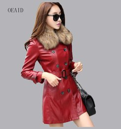 Wholesale Raccoon Leather Fur Coat - Real Raccoon Fur Leather Coat Women Leather Jacket Long Slim Ladies Jackets Coats Outerwear Women's Clothing Black