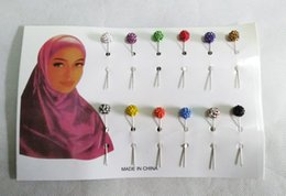 Wholesale Crystal Safety Pins - Brooch Hijab Pins Muslim Brooches Wholesale 12PCS Crystal Ball Muslim For Women Safety Scarf Pins Hijab Mixed Color