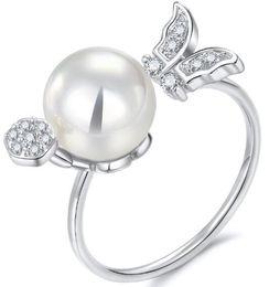 Argentina Chapado en oro blanco real Diamante y anillo de ajuste de dientes de perlas Shinning, anillo de platino de moda Piezas de joyería 6/7/8/9 tamaños de anillo cheap real gold diamond solitaire ring Suministro