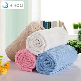 Одеяло кроватки мальчика онлайн-HTEXQ Blanket Knitted Blanket for Kids Girl Boy Soft Warm Child Cozy Coral Toddler Infant Newborn Receiving for Crib