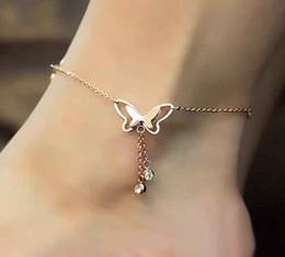 Canada Nouveau creux papillon cheville avec strass glands cheville mode été plage cheville bracelet pied bijoux Offre