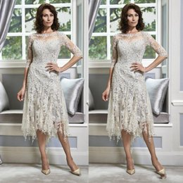 Wholesale Silver Dresses For Groom Mother - 2018 Silver Half Sleeve Lace Mother of The Bride Dresses for Weddings Guest Groom Beaded Crew Neck Tea Length A Line Plus Size