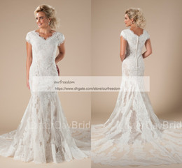 Wholesale Cape Skirts - 2018 Modest Cheap V Neck Wedding Dresses Cape Sleeve Lace Appliques Mermaid Sweep Train Rustic Bridal Gown Custom Made