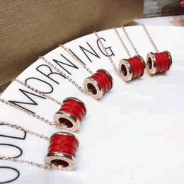 Wholesale Marble Gifts - New The charity version of the red thread ceramic couple necklace titanium steel marble necklace with small red people anti - counterfeits